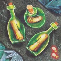 Бутылки с посланиями, 3 шт.